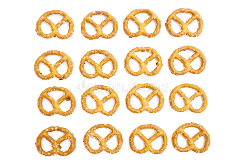 Knot shaped pretzel crackers. Isolated on white background royalty free stock images