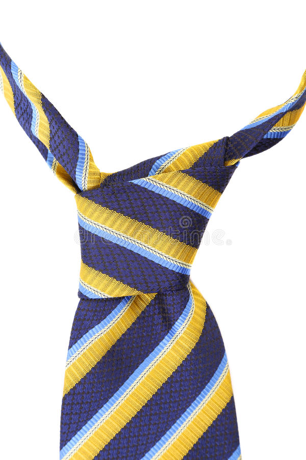 Knot of tie a colorful striped. stock photos