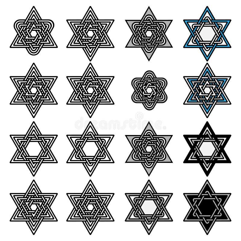 Knoted Israel David stjärnasamling vektor royaltyfri illustrationer