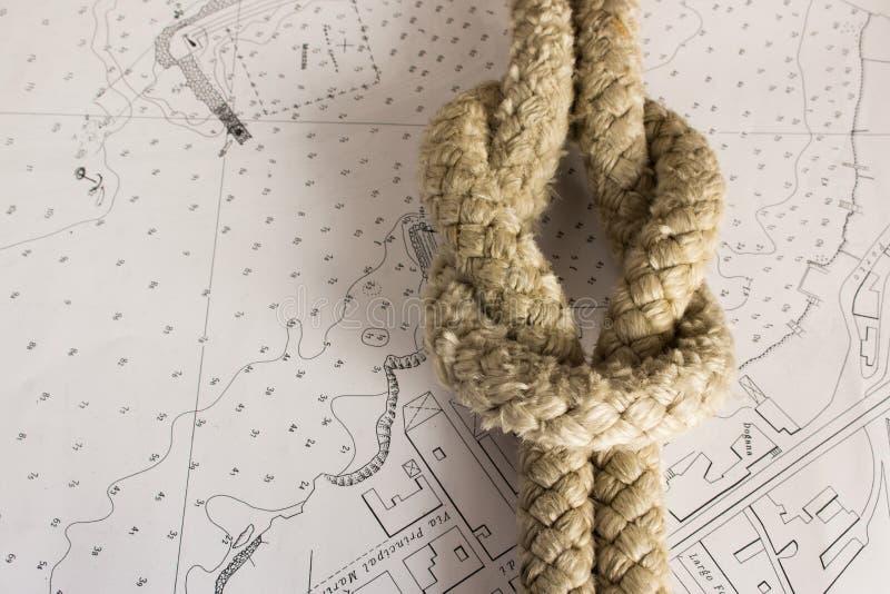 Knots Nautical. Nautical knots photographed on chart stock photography