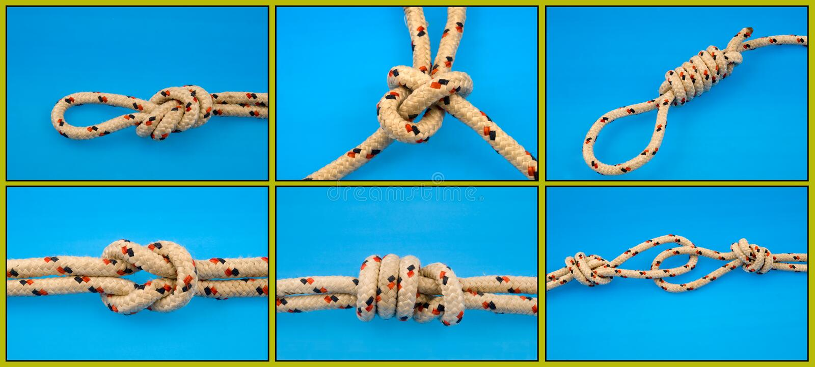 Download Knots Tied On Blue Royalty Free Stock Photography - Image: 7501037