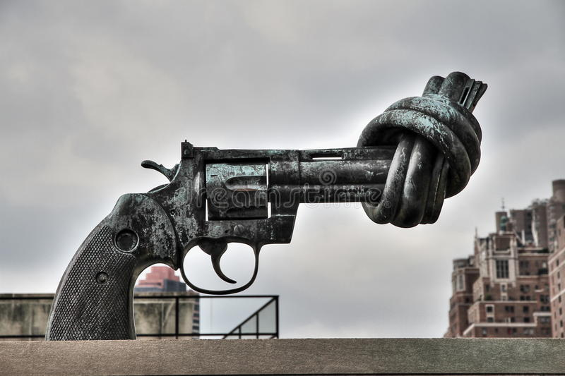 The knotted gun of United Nations royalty free stock photo