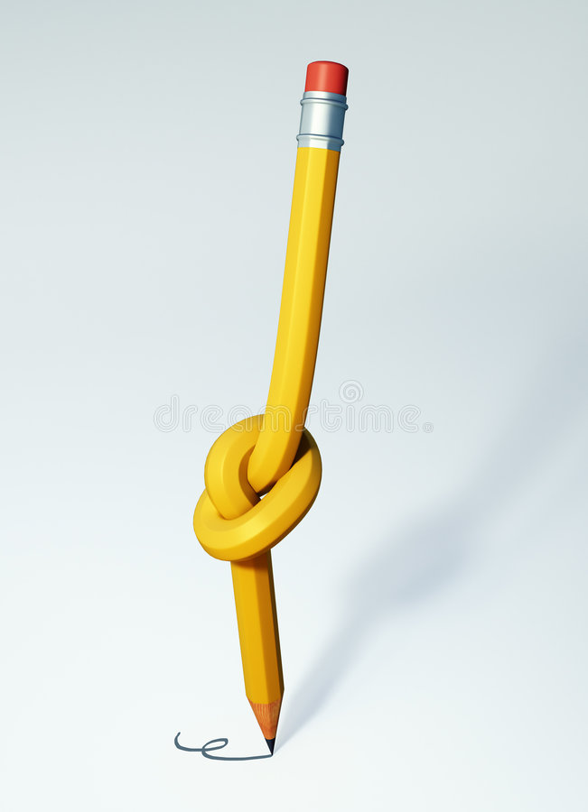 Knotted pencil royalty free illustration