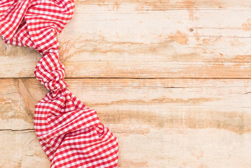 Empty Rustic Wooden Picnic Table Background Covered With Red ...