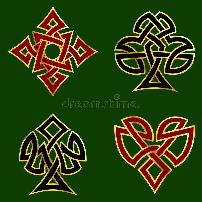 Knotwork card suits vector illustration