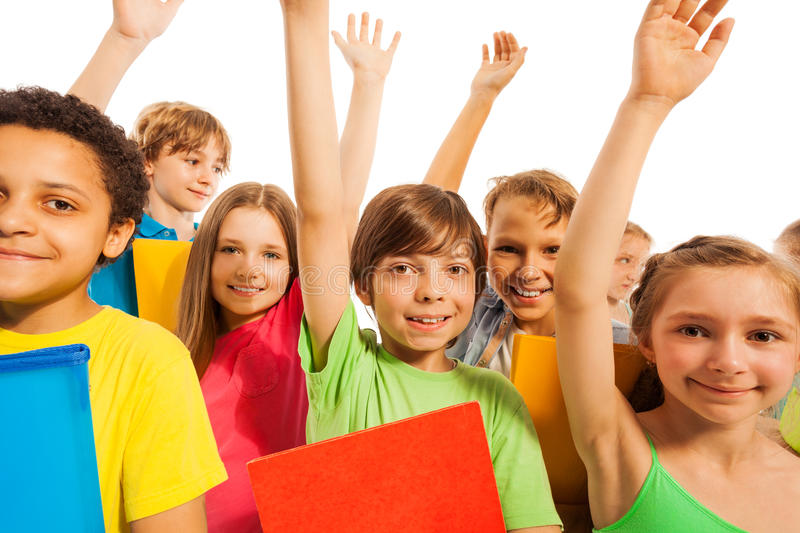 We know the answer, boy in group of kids royalty free stock photos