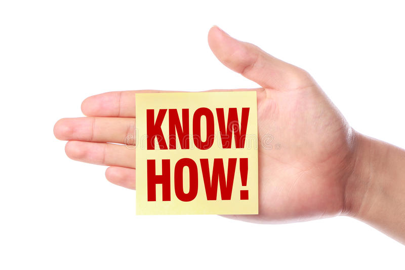 Know how. Hand with Know how sticky note is isolated on white background royalty free stock photography