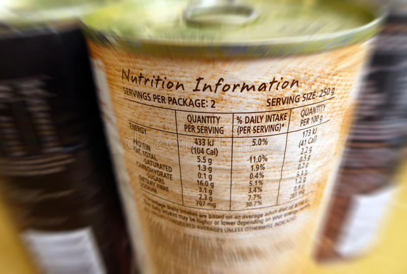 Nutrition information - Know what you eat! stock photos