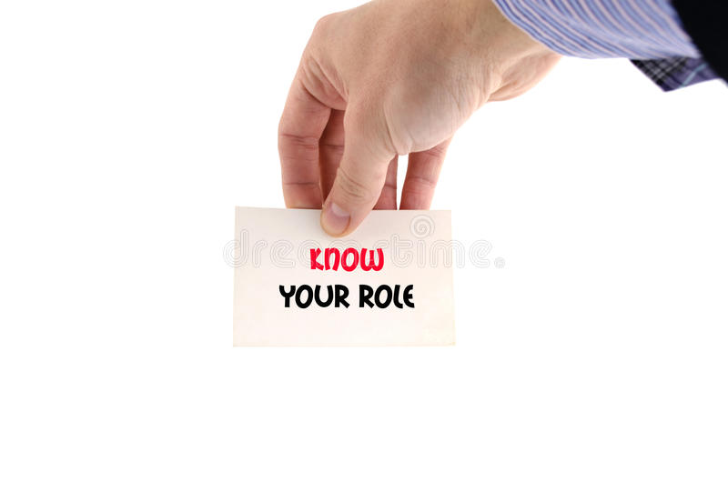 Know your role text concept. Isolated over white background stock photography