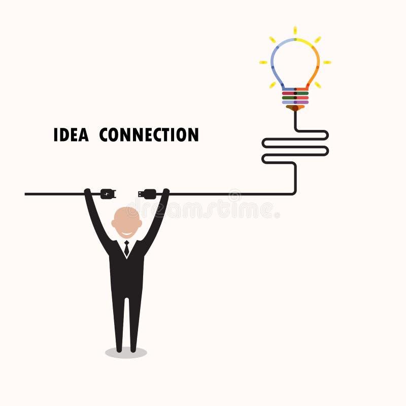 Knowled бизнесмен и творческий символ электрической лампочки с идеей и бесплатная иллюстрация
