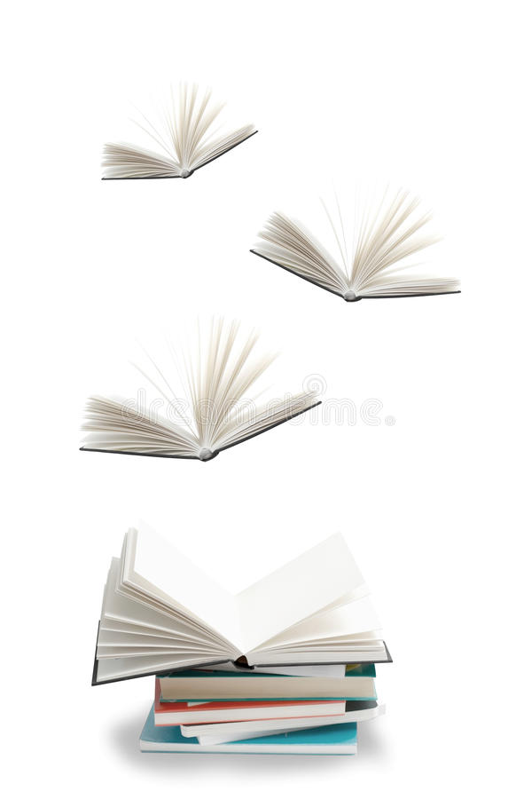 Knowledge. In the form of flying books royalty free stock images