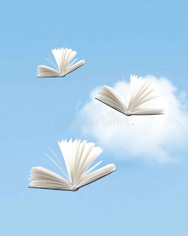 Knowledge. As in books flying in the sky stock photography