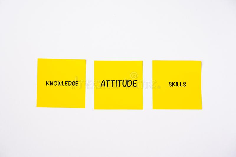 Knowledge, Attitude and Skills wordings on sticky notes royalty free stock photography
