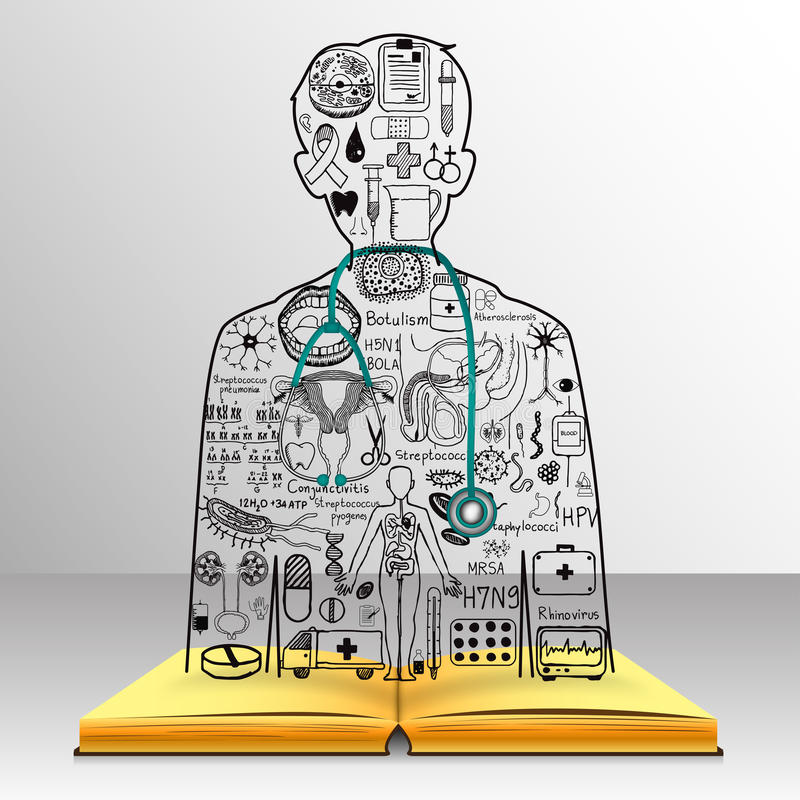 The knowledge from the book becomes a doctor.Medical doodles in a doctor shape with 3d stethoscope.Medicine studies. The knowledge from the book becomes a doctor royalty free illustration