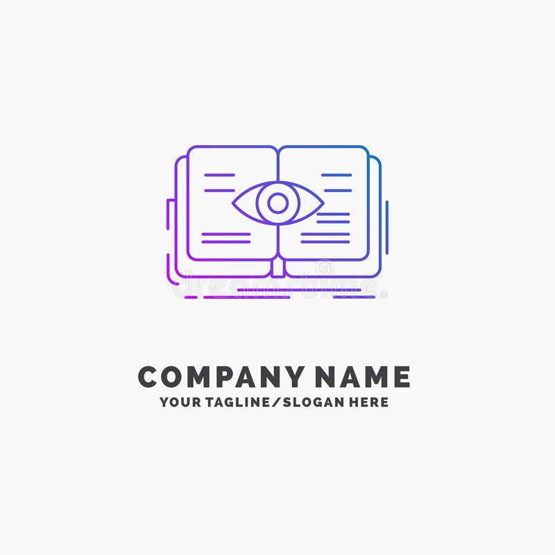 Knowledge, book, eye, view, growth Purple Business Logo Template. Place for Tagline. Vector EPS10 Abstract Template background vector illustration