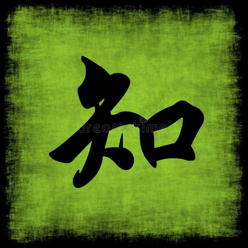 Knowledge Chinese Calligraphy Set stock illustration