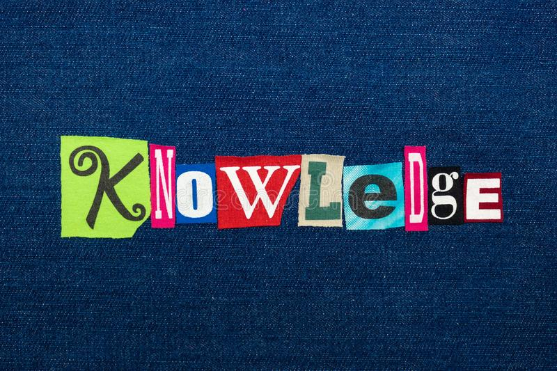 KNOWLEDGE collage of word text, multi colored fabric on blue denim, wisdom and perception concept. Horizontal aspect stock images