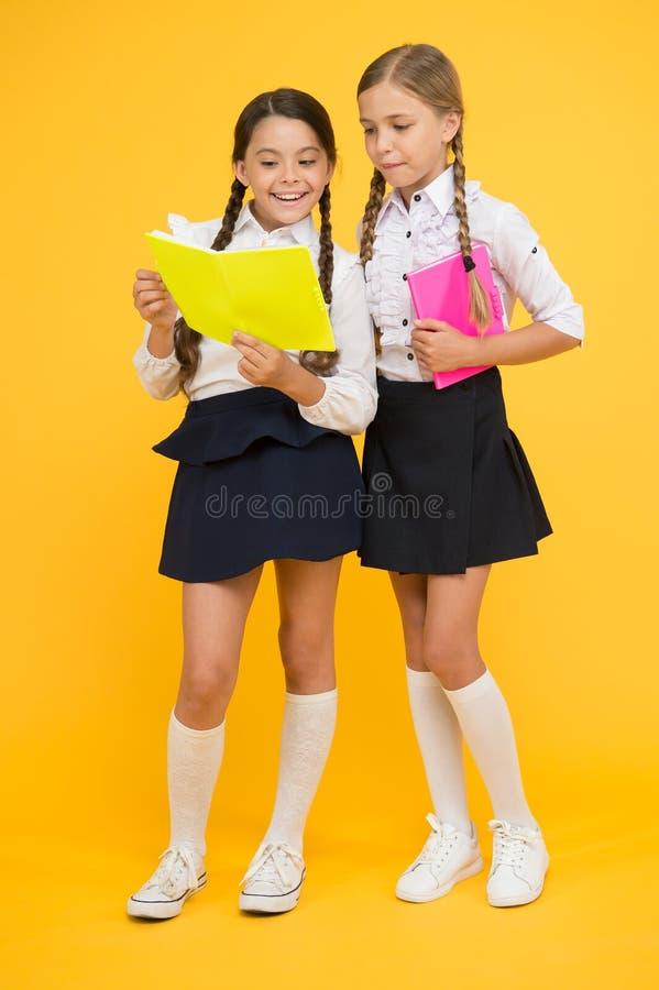 Knowledge day. School day. Kids cute students. Schoolgirls best friends excellent pupils. Schoolgirls wear school. Uniform. School friendship. Girl with copy royalty free stock images