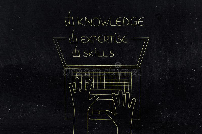 Knowledge expertise skills ticked off caption popping out of lap. Top screen from above, concept of online education royalty free stock image