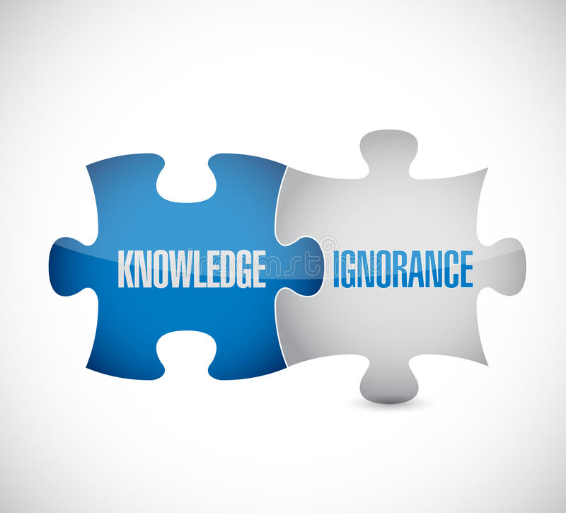 Knowledge and ignorance puzzle pieces sign. Illustration design over white stock illustration