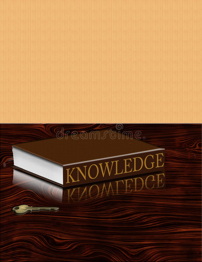 Knowledge is Key. Book of knowledge and key on desk vector illustration