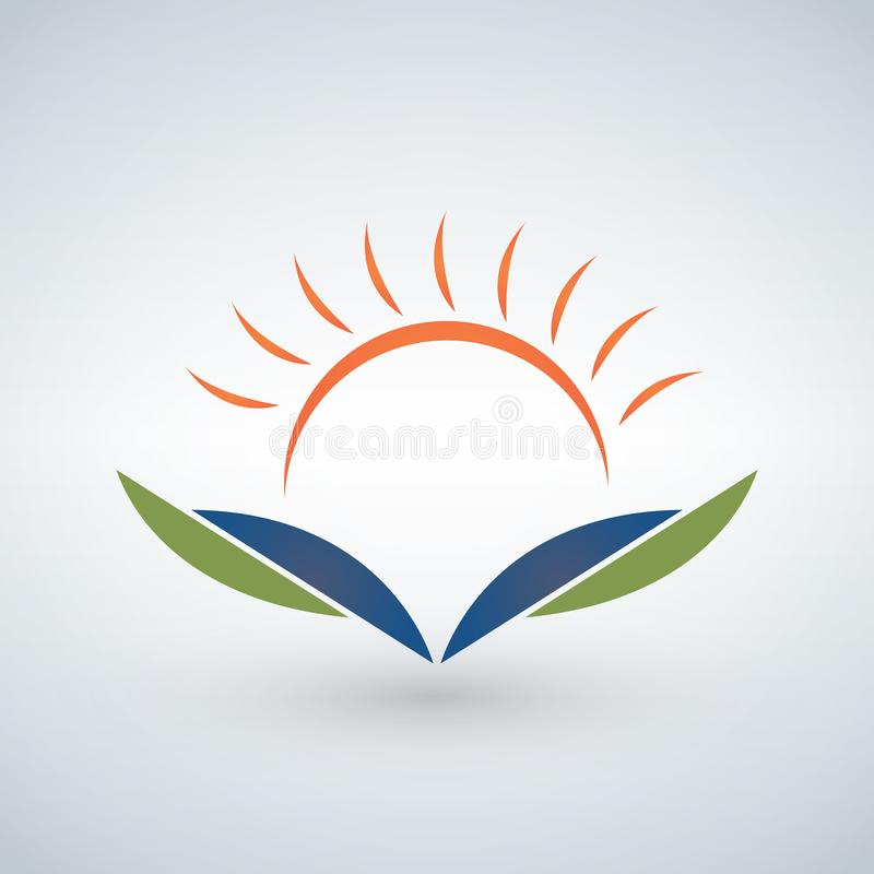 Knowledge logo design template,Sunset open book Education concept stock illustration