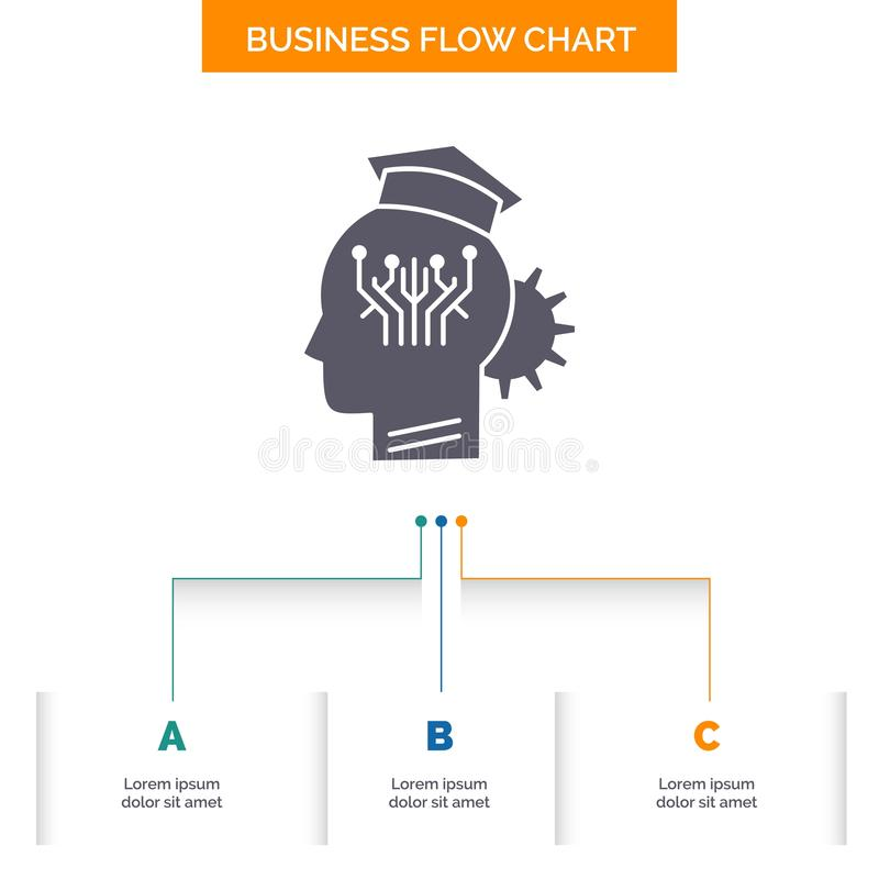 Knowledge, management, sharing, smart, technology Business Flow Chart Design with 3 Steps. Glyph Icon For Presentation Background. Template Place for text stock illustration