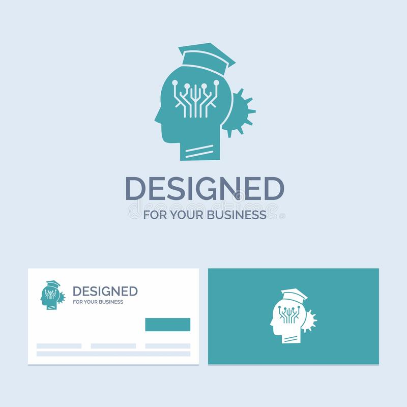 Knowledge, management, sharing, smart, technology Business Logo Glyph Icon Symbol for your business. Turquoise Business Cards with. Brand logo template.. Vector royalty free illustration