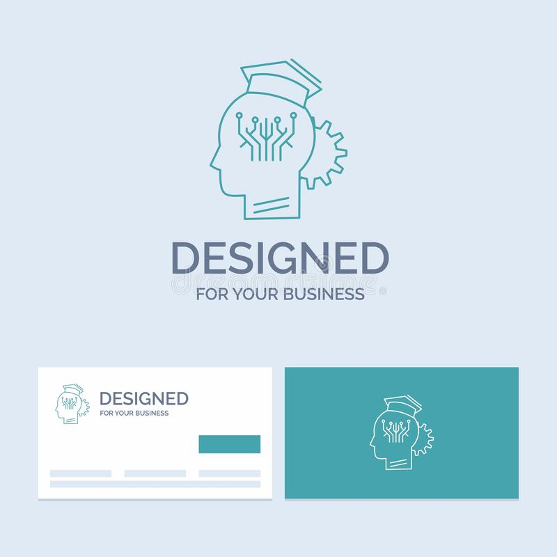 Knowledge, management, sharing, smart, technology Business Logo Line Icon Symbol for your business. Turquoise Business Cards with. Brand logo template. Vector vector illustration