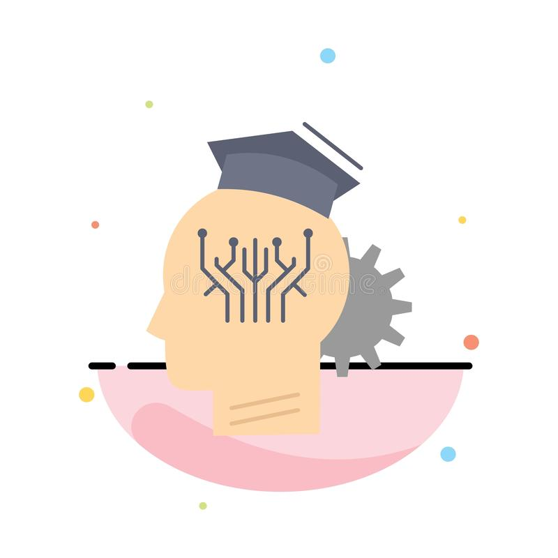 knowledge, management, sharing, smart, technology Flat Color Icon Vector stock illustration
