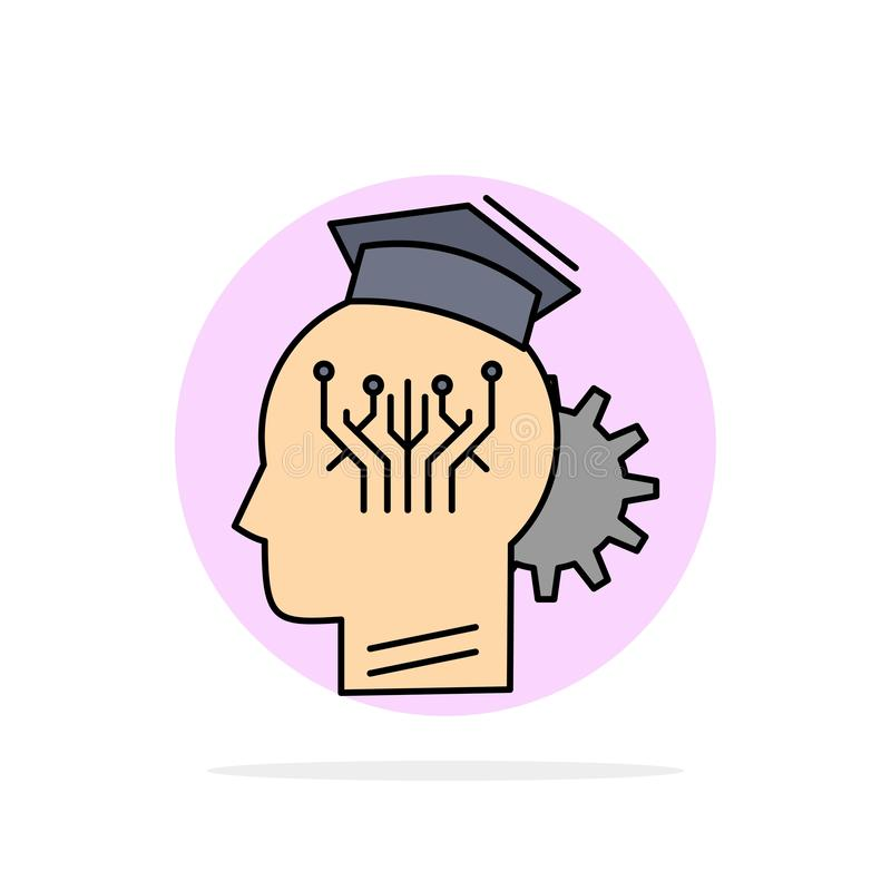 knowledge, management, sharing, smart, technology Flat Color Icon Vector royalty free illustration