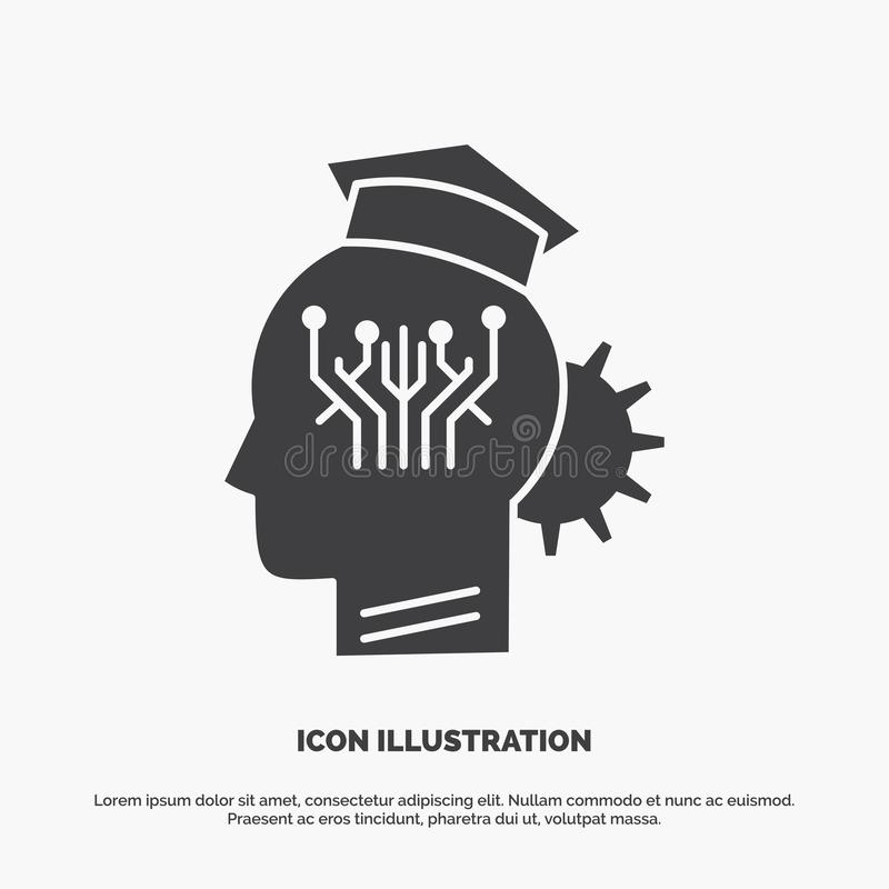 Knowledge, management, sharing, smart, technology Icon. glyph vector gray symbol for UI and UX, website or mobile application. Vector EPS10 Abstract Template stock illustration