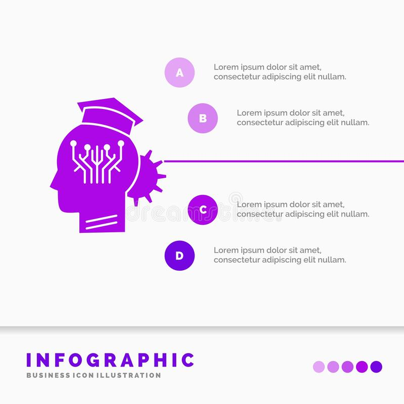Knowledge, management, sharing, smart, technology Infographics Template for Website and Presentation. GLyph Purple icon. Infographic style vector illustration vector illustration