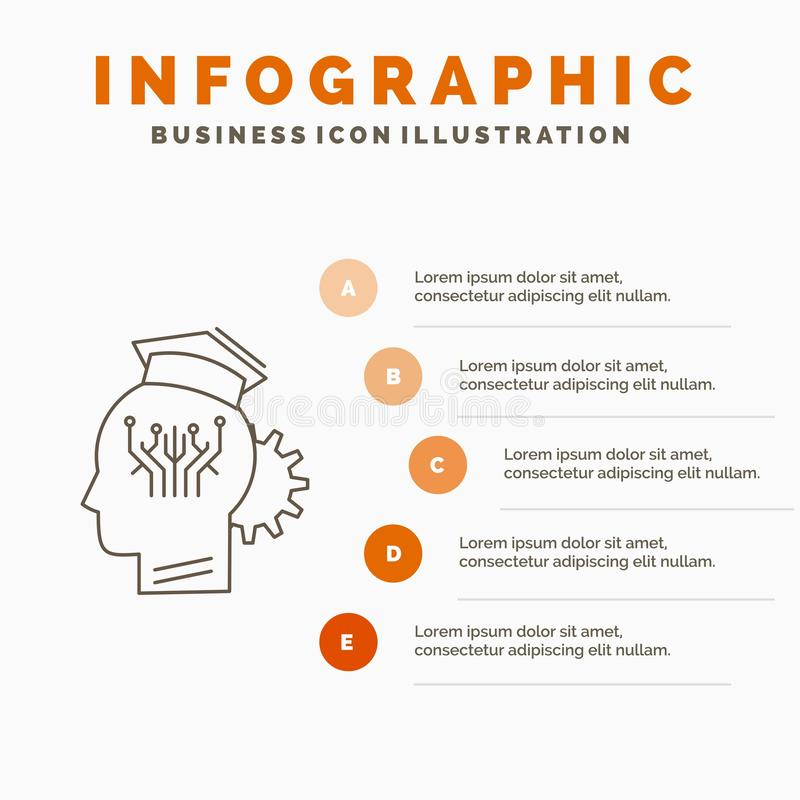 knowledge, management, sharing, smart, technology Infographics Template for Website and Presentation. Line Gray icon with Orange royalty free illustration