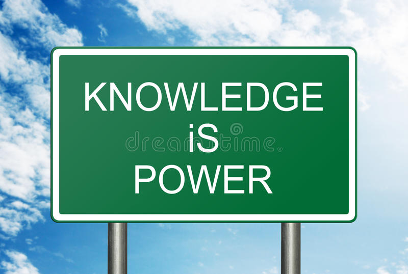 Knowledge Is Power Concept. Knowledge is power posted on a green sign stock photo