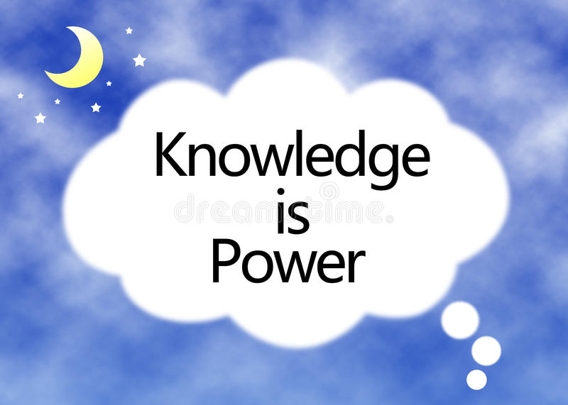Knowledge Is Power Concept. Text in white cloud with blue sky background stock photos