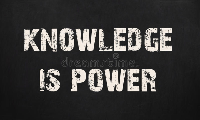 Knowledge is power written on a chalkboard stock images