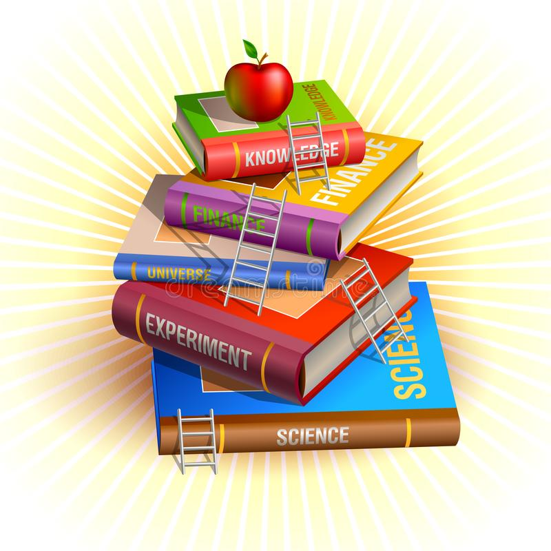 Knowledge pyramid hierarchy illustration. Books stairs and apple at the top vector illustration