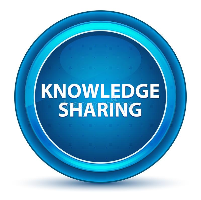 Knowledge Sharing Eyeball Blue Round Button vector illustration