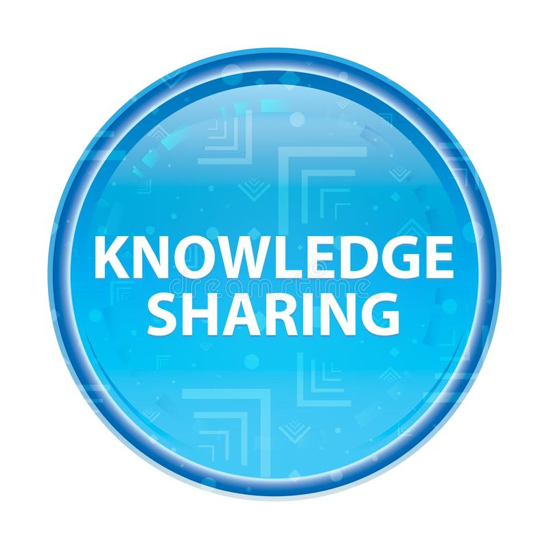 Knowledge Sharing floral blue round button. Knowledge Sharing Isolated on floral blue round button stock illustration