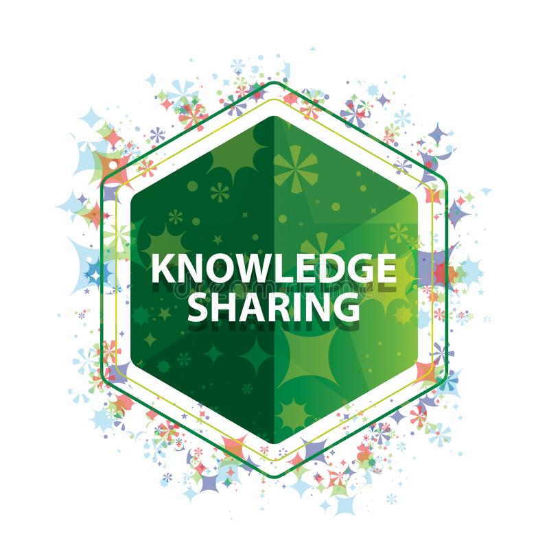 Knowledge Sharing floral plants pattern green hexagon button. Knowledge Sharing Isolated on floral plants pattern green hexagon button vector illustration