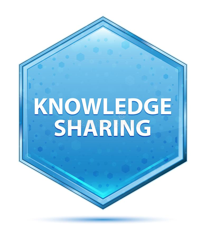 Knowledge Sharing crystal blue hexagon button stock illustration