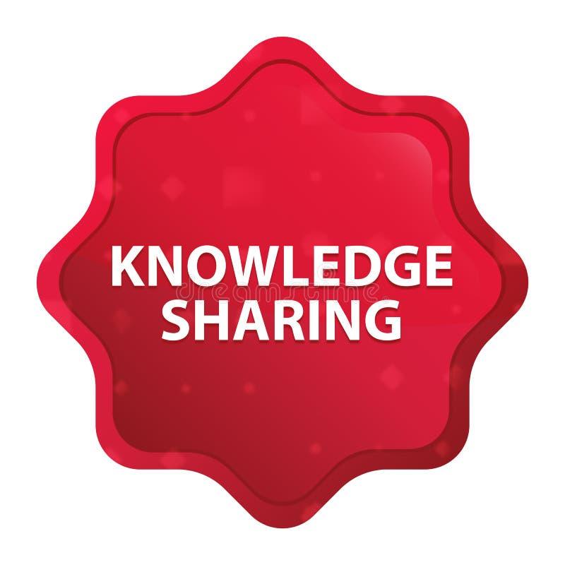 Knowledge Sharing misty rose red starburst sticker button stock illustration