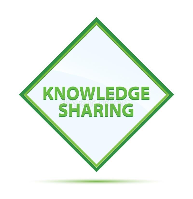 Knowledge Sharing modern abstract green diamond button stock illustration