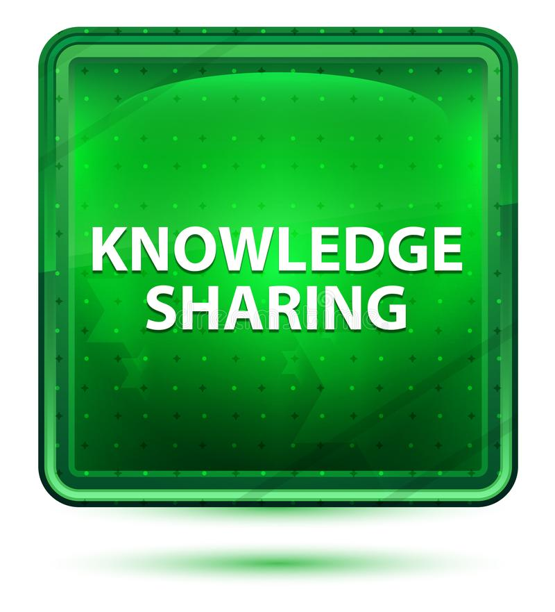 Knowledge Sharing Neon Light Green Square Button vector illustration