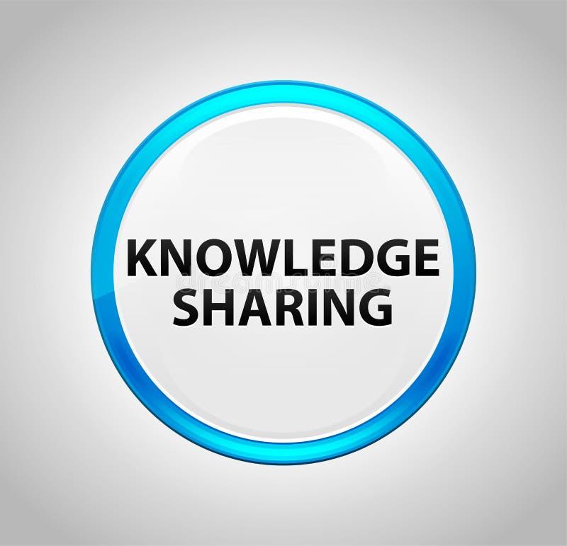 Knowledge Sharing Round Blue Push Button stock illustration