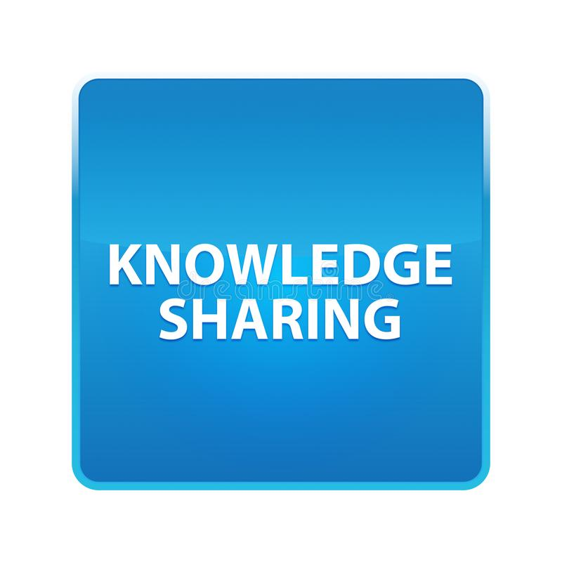 Knowledge Sharing shiny blue square button vector illustration
