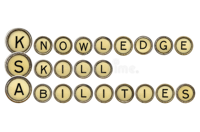 Knowledge, skills, and abilities. (KSA) is a concise essay about one's talent and expertise and related experiences. A word abstract in old typewriter keys royalty free stock images