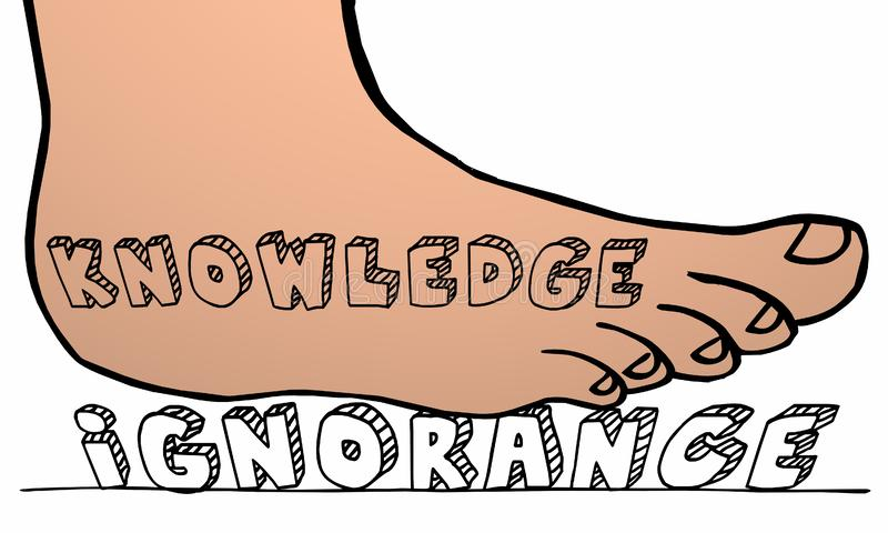Knowledge Stomping Out Ignorance Foot. Knowledge Stomping Out Ignorance Education Foot 3d Illustration vector illustration