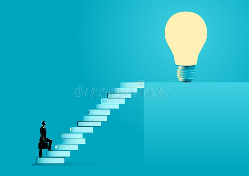 Knowledge For Success. Business illustration of a businessman with suitcase going up the stairs made from books leading up to a light bulb. Education, solution royalty free illustration